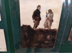 Soldats au-dessus de la tranchée. Ce dessin a été réalisé pendant la guerre.